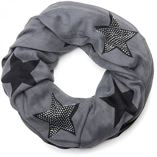 styleBREAKER Loop Schal mit Sterne Muster und edler Strass Applikation, Schlauchschal, Tuch, Damen 01018086, Farbe:Grau-Schwarz (One Size)