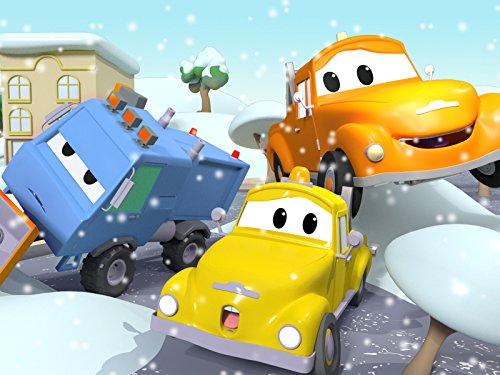 Sam the Snow Plow falls onto his side / The Wrapping Machine of the Construction Squad