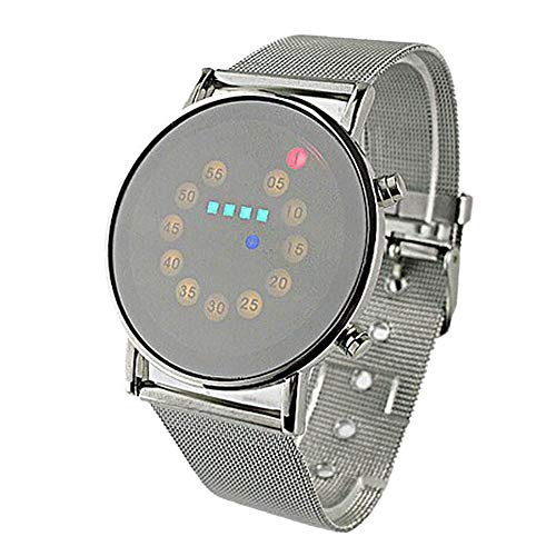 Best Review Of Muranba Red+Yellow+Green+Blue LED Light Stainless Steel Fashion Wrist Watch