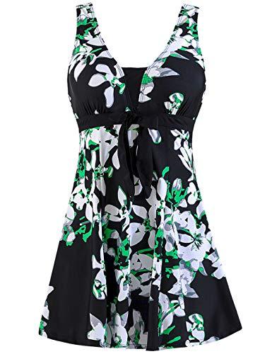 Wantdo Traje de Baño Falda Tankini Playa 1 Pieza Estampado Floral para Mujer Flor de Pera 16-18