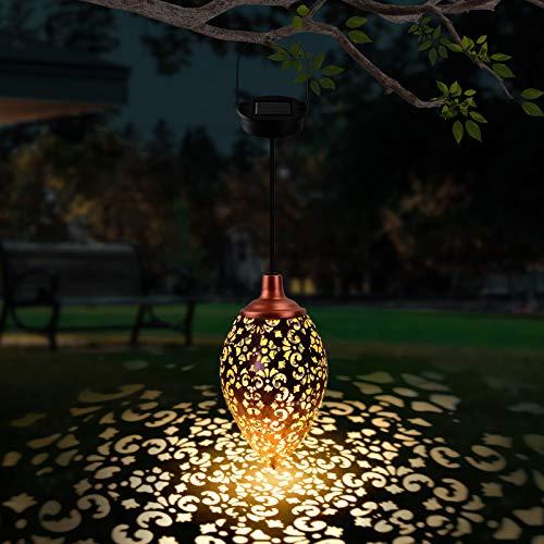 Solarlaterne für Außen, WEARXI LED Laternen für Draußen, Solarlampen für Außen Hängend, Dekorative Metall Solar laterne mit Lichtempfindlic und IP44 Wasserdicht für Garten Balkon Terrasse Hof Deko