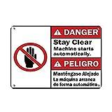なまけ者雑貨屋 Danger Stay Clear Machine Starts Automatically Dangers アメリカ ン 雑貨ト メタル ブリキ 看板 アンティーク レトロ 壁飾 警告板 20x30cm