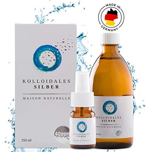 MAISON NATURELLE  - Kolloidales Silber 40 PPM (250 ml) - Silberwasser + kostenlose 30ml Sprühflasche - Höchste Reinheitsstufe 99,9%