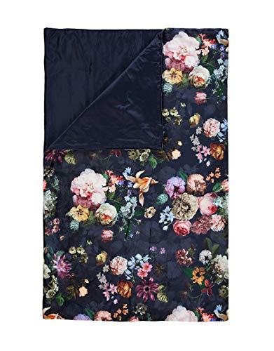 ESSENZA Quilt Fleur Blumen Pfingstrosen Tulpen Polyester Nightblue, 240x100 cm