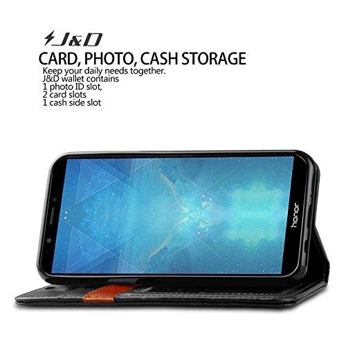 J&D Kompatibel für Huawei Honor 7C Leder Hülle, [RFID Blocking Standfuß] [Slim Fit] Robust Stoßfest PU Leder Flip Handyhülle Tasche Hülle für Huawei Honor 7C Hülle - Schwarz - 6