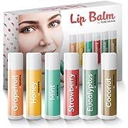 Lip Balm by Pure Aroma 100% Natural Moisturizing Lip Balm with Vitamin E 6 Pack
