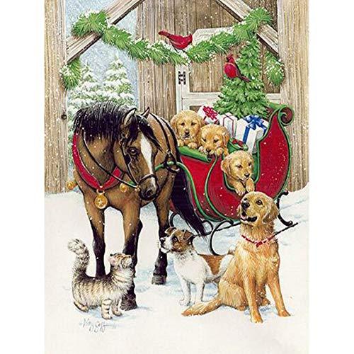 Diy5D Diamond Schilderij Dier Paard En Hond Borduurwerk Handwerk Live Decoratie(50x70cm)