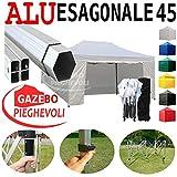 Gazebo Bianco 4,5x3 Pieghevole Alluminio a Forbice Ombrello Professionale...