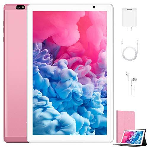 Tablet 10.1 Pulgadas 4G Android 10.0 Quad Core DUODUOGO G20 Tablet 4GB RAM 64GB ROM/128GB Escalables 8000mAh Doble SIM/Cámara Tablet PC Asistente de Voz de Google GMS Netfilx (Estándar, Rosado)