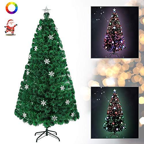 WEIERR Künstlicher Weihnachtsbaum 180 cm mit LED Glasfaser und Schneeflocken Christbaum mit 200 Spitzen, 25 LEDs und 25 Schneeflocken, Weihnachtsdeko Lichterbaum aus Grün PVC und Metall Ständer