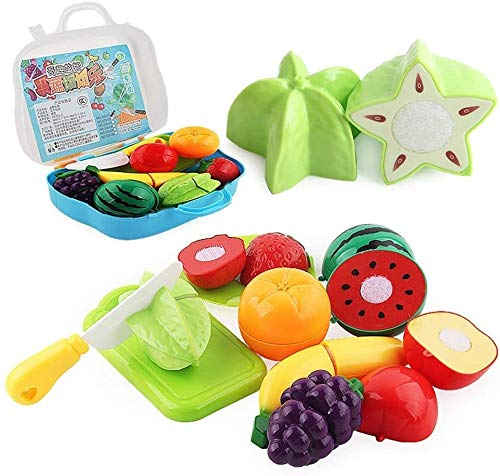 Kikioo Mini Toy Children's Simulation Kitchen Vegetables And Fruits Fun Cut Le Suit Suitcase Educational Toys 2-8 Year Old Boys Educational Toys Toddler And Girls Gifts Learning Tool Toy Kitchen Sets
