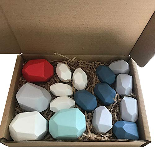 Light Natural Wood Colorful Stones for Stacking Game Balancing Blocks Build Wooden Stone Leveling Blocks (C1, 16Pcs)