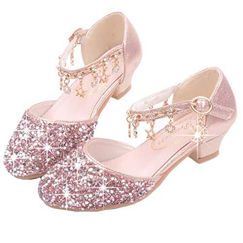 AIYIMEI Zapatos de Tango Latino para Niños Vestir Fiesta Princesa Sandalias Lentejuelas Zapatitos de Tacón Bebé Niña Primavera Verano Zapatillas de Baile Niñas EU26-38
