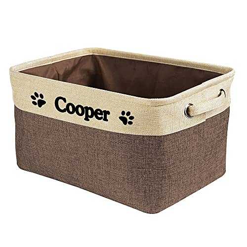 MALIHONG Personalized Foldable Storage Basket Collapsible Sturdy Fabric Dog Toys Storage Bin Cube with Handles for Organizing Shelf Home Closet , Brown and White, Extra Large Size - 15' x 10.6' x 9.4'