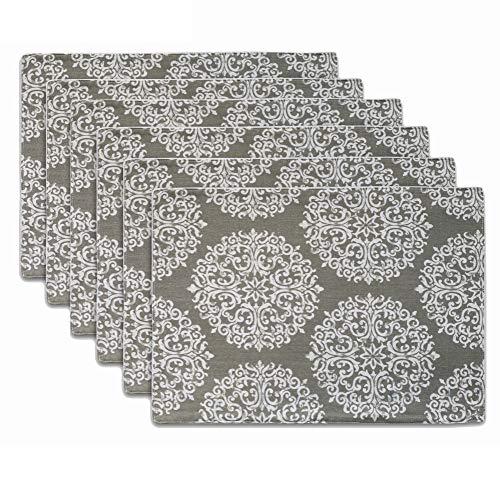 blanc Smeala Set de Table 45 x 30 CM Lot de 6 Sets de Table Lavables et antid/érapants en Vinyle r/ésistants /à la Chaleur Napperons en PVC pour la Maison et la Cuisine