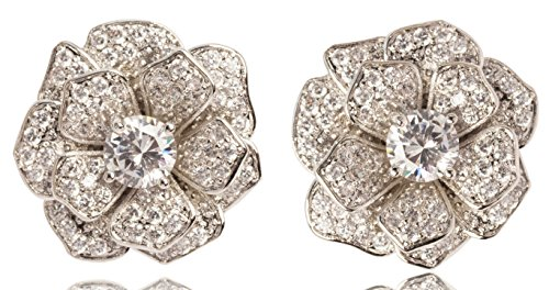 Fashion jewelry floral design rhinestone camellia earrings studs for women