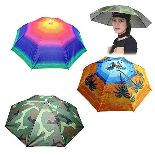 Vientiane Chapeau de Parapluie, 3 Pièces Chapeau de Parapluie de Pêche avec Bande Élastique, Chapeau de Parapluie pour Extérieur, Chapeau de Parapluie de Pêche de Camouflage pour Adultes & Enfants