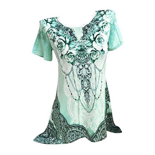 OSYARD Damen O-Neck Plissee Plus Size Kurzarm Bluse Top Tunika Shirt(EU 40 / M, Grün)