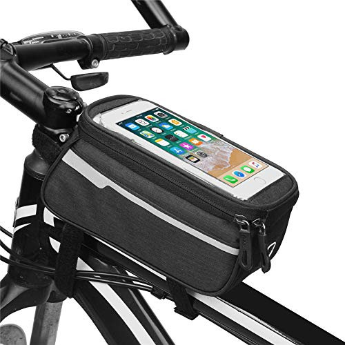 TININNA Sacoche étanche pour cadre de vélo - Sac de rangement pour téléphone portable avec fenêtre à écran tactile - Noir