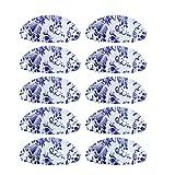 10 manijas con forma de cáscara de granja con tornillos adecuados para cajones de aparador, puerta, armario, vintage joyas, armario, bronce amarillo (porcelana azul y blanca)