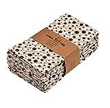 Urban Villa Impresión de Puntos y Rayas Servilletas 100% algodón Juego de 12servilletas de Tela de tamañoGris/marrón de 51x51CMS Juego de 12 Topo/Chocolate Dot & Rayas Imprimir