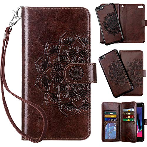 Vofolen 2-in-1 Case for iPhone 6S Plus Case iPhone 6 Plus Wallet Card Holder Detachable Flip Cover Magnetic Folio PU Leather Protective Slim Shell Wrist Strap for iPhone 6 Plus 6S Plus Mandala Brown
