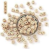 ARTLATU 104 Stück Holz Perle Buchstaben/buchstabenperlen/Holzbuchstaben Perlen 12x12mm DIY Schnuller Kette Still Halskette Holz Alphabet Zahnen Perlen für baby perlen zum auffädeln