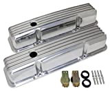 1958-86 Compatible/Replacement for Chevy Small Block 283-305-327-350-400 Tall Polished Aluminum Valve Covers - Full Finned