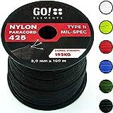 GO!elements 100m Paracorde en Nylon indéchirable - 3mm Corde Paracord 425 Type II Lignes comme Corde extérieure, Corde Tout Usage, Corde de Survie - Ligne en Nylon Max. 192kg, Couleur:Noir