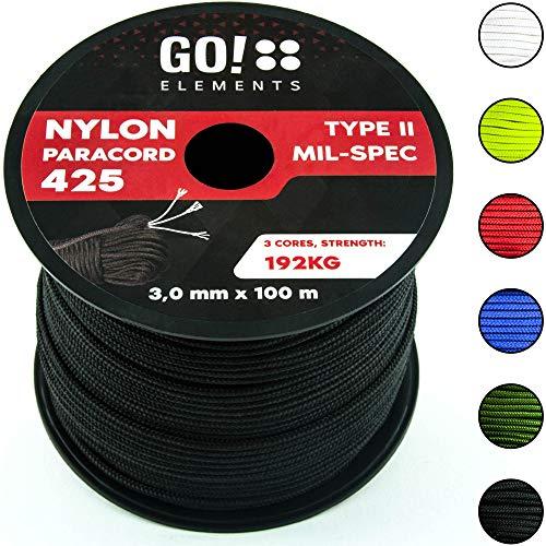 GO!elements 100m Cuerda Paracord de Nylon Resistente al desgarro - 3mm Paracord 425 Tipo II líneas como Cuerda para Exteriores, Cuerda para Todo Uso - línea de Nylon MAX. 192kg, Color:Negro