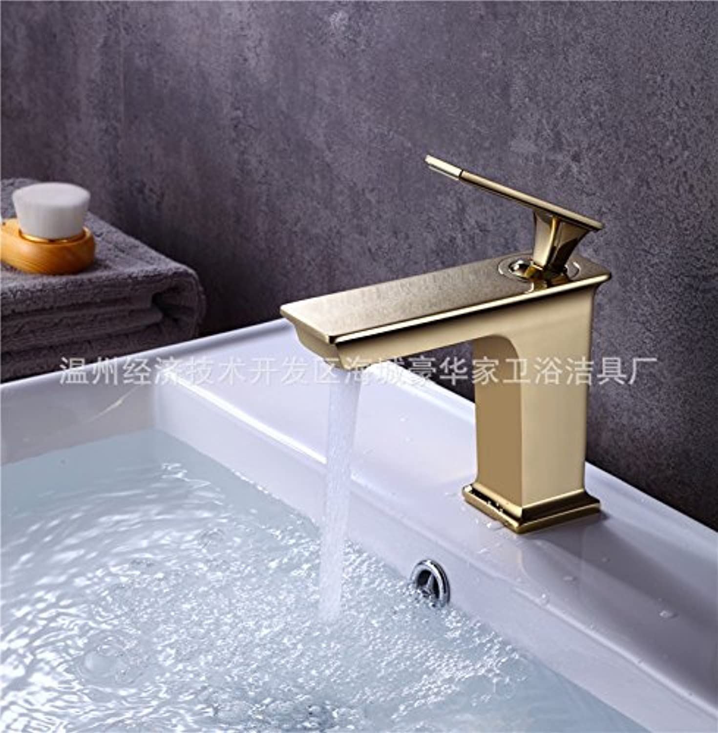 Lalaky Taps Faucet Kitchen Mixer Sink Waterfall Bathroom Mixer Basin Mixer Tap for Kitchen Bathroom and Washroom Hot and Cold gold