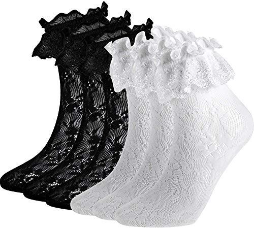 SATINIOR Frauen Söckchen Spitzen Ruffle Fußkettchen Socken Cup Spitzen Socken, 6 Paar Set