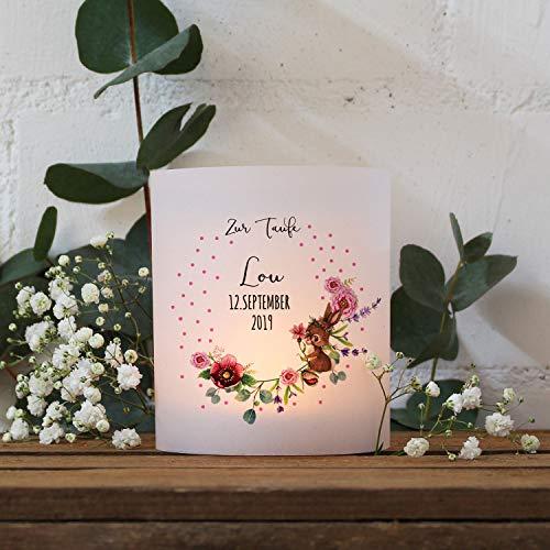 ilka parey wandtattoo-welt Teelichthüllen zur Taufe 2er 4er Set für Windlichter Teelicht Lichthülle Hülle Blumen Hase + Wunschname Datum te123 - ausgewählte Größe: *4X Lichthüllen*