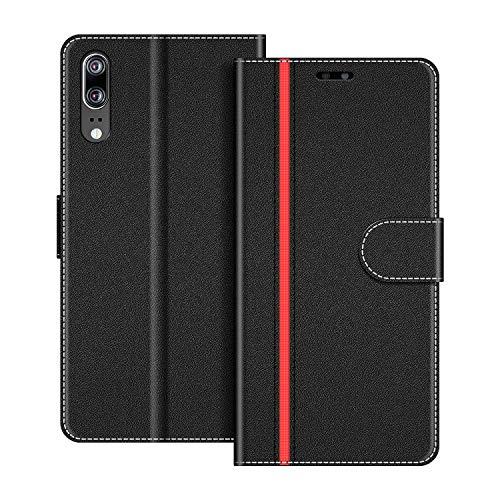 COODIO Handyhülle für Huawei P20 Handy Hülle, Huawei P20 Hülle Leder Handytasche für Huawei P20 Klapphülle Tasche, Schwarz/Rot