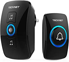 TeckNet Wireless Doorbell Door Bell Chime Kit with LED Light, 1 Receiver and 1 Push Button Operating at 820-feet Range with 32 Chimes (Black)