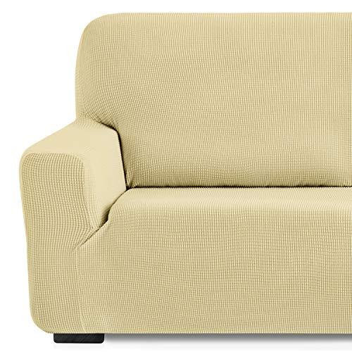 Eiffel Textile Monaco Elastica Adaptable. Funda Sofa Lisa, 94% poliéster 6% Elastano, Beige, 3 Plazas (180-240 cm)