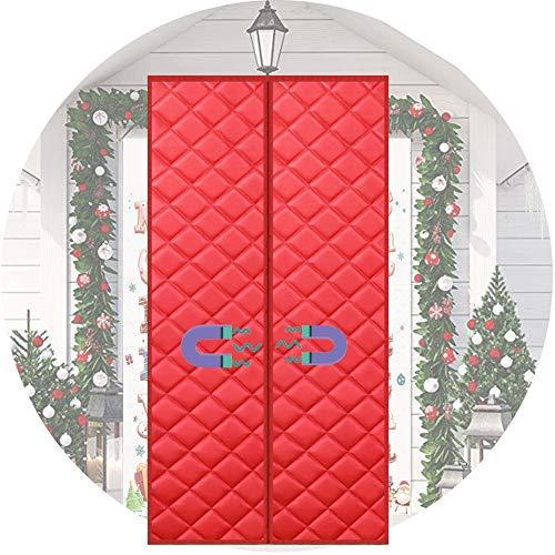 LSXIAO Puerta Cortina Algodón Puerta Blindada Electromagnética Impermeable Insonorizar Cinta Removible for Casa Cortinas Divisorias De Pasillo De Dormitorio, 44 Tamaños (Color : Red, Size : 85