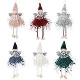 Achort Decoraciones de Navidad, 6 piezas de colgante de muñeca de ángel, adornos de Navidad, decoración de árbol de Navidad, decoración para colgar, decoración para vacaciones, decoración de árbol