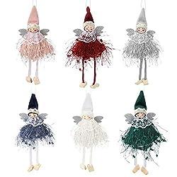 Achort Weihnachtsdekorationen Verkauf, 6 Stück Engel Puppe Anhänger Weihnachten Ornamente Weihnachtsbaum Dekoration hängende Dekoration für Urlaub, Weihnachtsbaum Dekorationen, Kamin