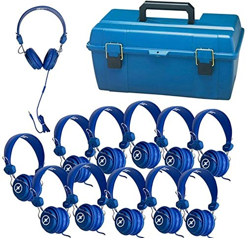 HamiltonBuhl Lab Pack - 12 Blue FavoritzHeadsets with In-Line Microphone and TRRS Plug in a Small Carry Case