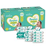 Pampers Swaddlers Disposable Baby Diapers Size 1, 2 Month Supply (2 x 198 Count) with Sensitive Water Based Baby Wipes, 12X Pop-Top Packs (864 Count)
