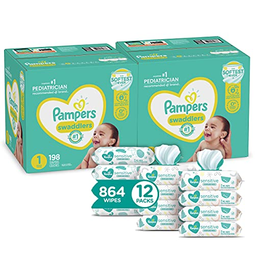 Pampers Baby Diapers and Wipes Starter Kit (2 Month Supply) - Cruisers Disposable Baby Diapers (2 x 174 Count) with Sensitive Water Based Baby Wipes, 12X Pop-Top Packs, 864 Count