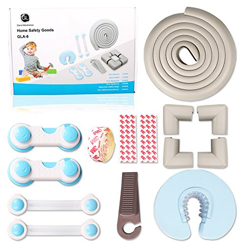 Baby Proofing Kit,Cabinet Locks,Safety Locks for Kids,Flexible Strap,Safety Locks, Corner Protectors,Door Stoppers,Edge and Corner Guards