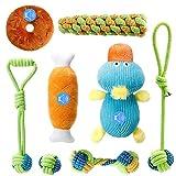 Homealexa Juego de 8 juguetes para perros, de algodón natural, cuerda para masticar y peluche con chirrido, adecuado para perros pequeños y medianos.