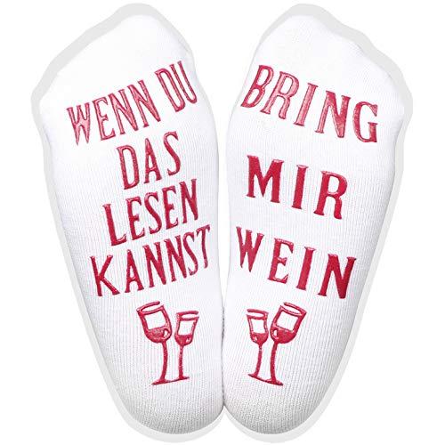 CARETOO Witzige Socken Baumwolle Dickes Strick Socken Mit Wenn Du Das Lesen Kannst, Bring Mir Wein Lustige Baumwollsocken für Weinliebhaber Weihnachten Valentinstag