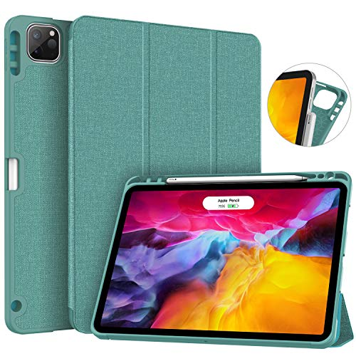 Soke New iPad Pro 11 Case 2020 & 2018 with Pencil Holder - [Full Body Protection + Apple Pencil Charging + Auto Wake/Sleep], Soft TPU Back Cover for 2020 iPad Pro 11 inch(Lake Blue)