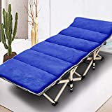 Oeyal Camping Cot Folding Camping Bed for Adults, Heavy Duty Collapsible Sleeping Bed, Travel Military Portable Cots Bed with Carry Bag for Indoor & Outdoor Use (Blue with Mattress)