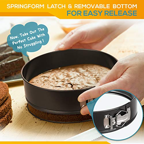 """Hiware Springform Pan Set of 3 Non-stick Cheesecake Pan, Leakproof Round Cake Pan Set Includes 3 Pieces 6"""" 8"""" 10"""" Springform Pans with 150 Pcs Parchment Paper Liners"""
