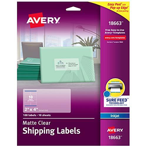 Avery 18663 Adress-Etiketten für Tintenstrahldrucker, matt, transparent, matt, 5,1 x 10,2 cm, 100 Etiketten