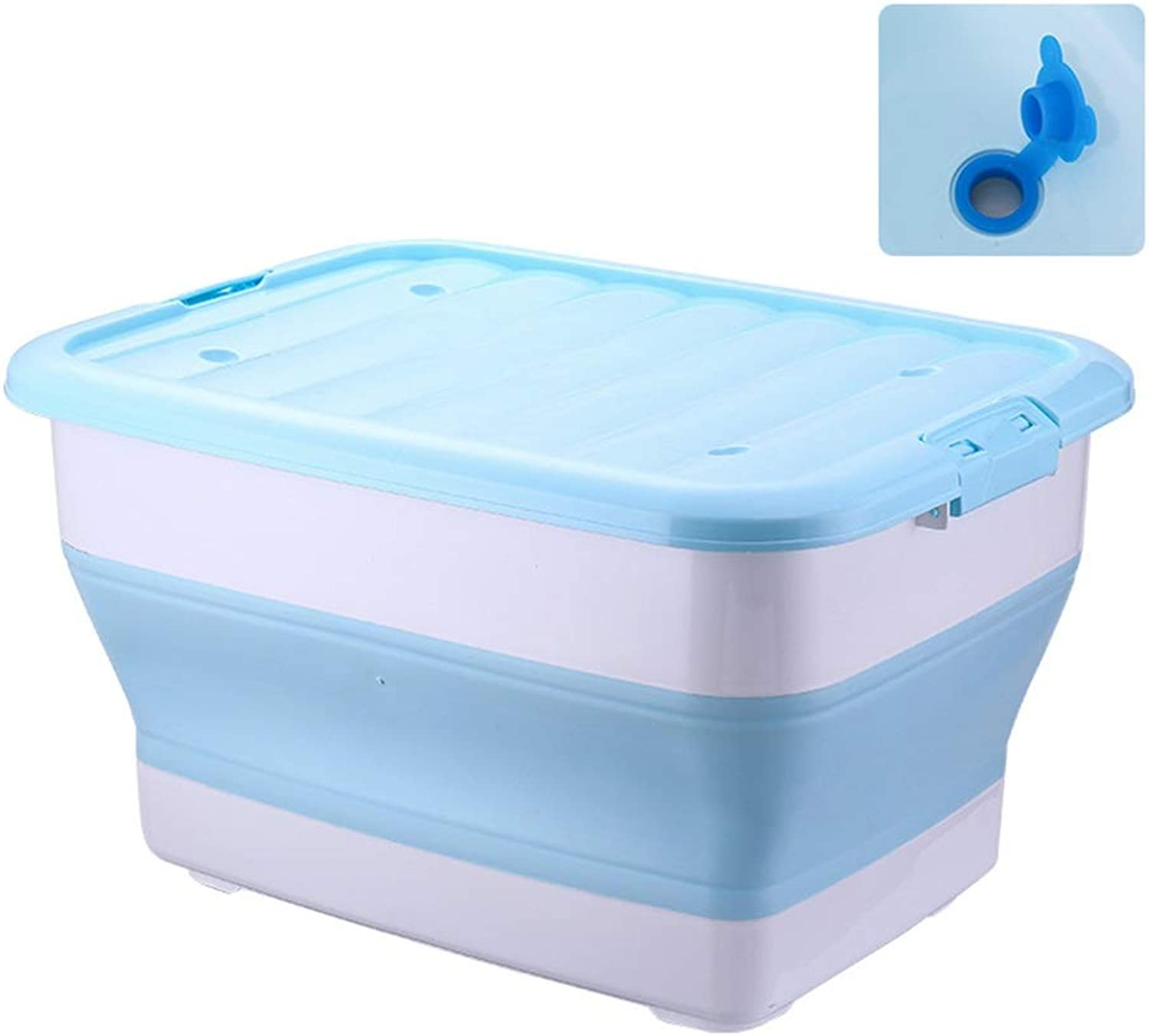 ZHANGQIANG Storage Basket Laundry Basket Plastic Large Storage Box with Lids (color   bluee with Water Holes, Size   A)